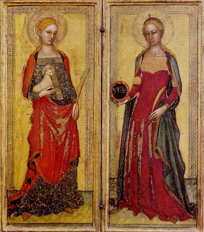 https://upload.wikimedia.org/wikipedia/commons/1/19/Andrea_di_Bonaiuto._St._Agnes_and_St._Domitilla._1365._Galleria_dell%27Accademia%2C_Florence..jpg