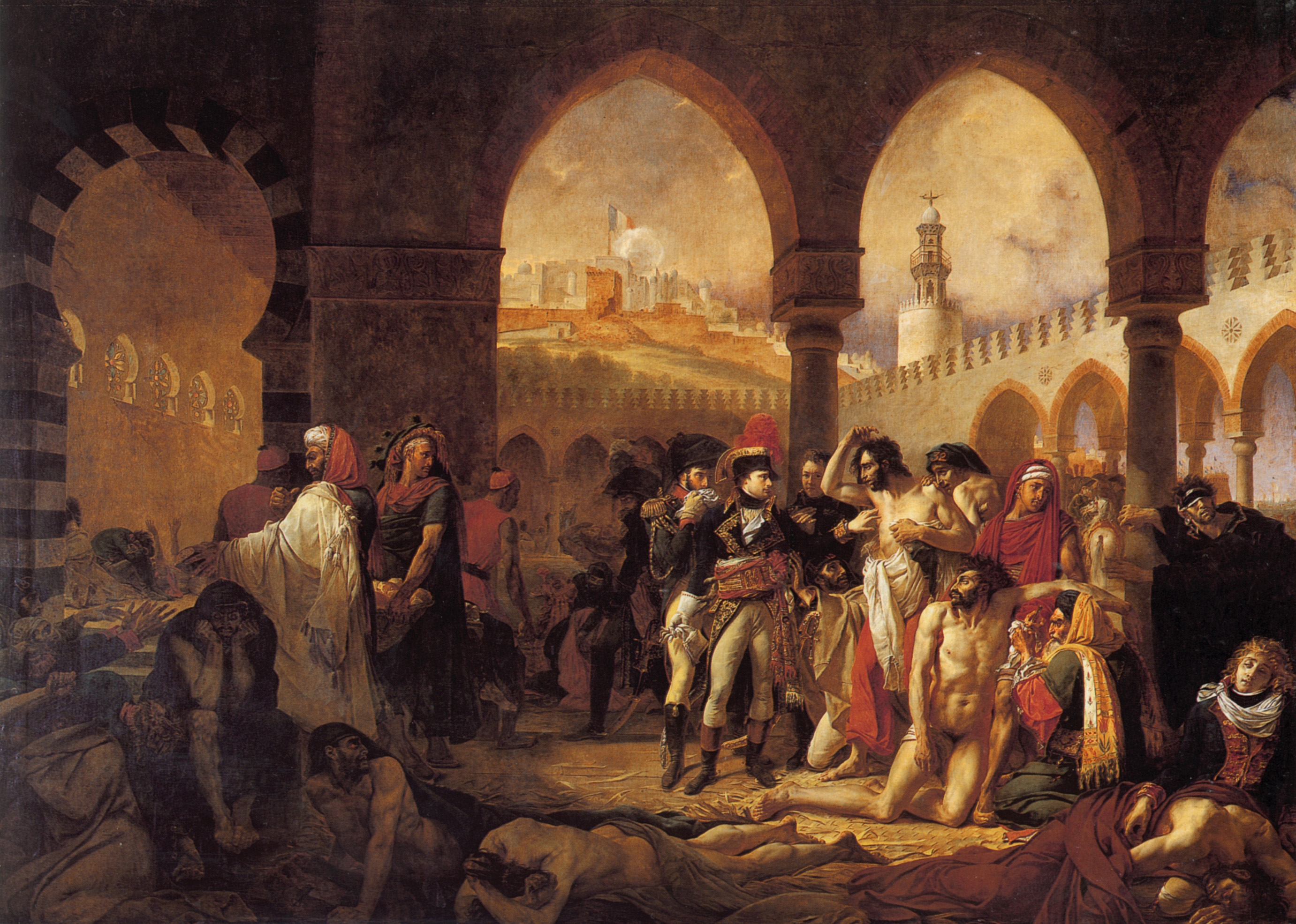 The picture Bonaparte Visits the Plague Stricken in Jaffa by French painter Antoine-Jean Gros.