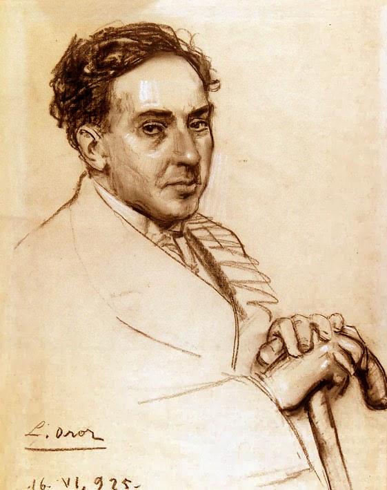 Retrato de Antonio Machado (1875 - 1939), sanguina de Leandro Oroz Lacalle (1883 - 1933). Fondos de la Fundación Ortega y Gasset.