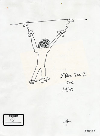 A sketch by Thomas V. Curtis, a former Reserve M.P. sergeant, showing how Dilawar was allegedly chained to the ceiling of his cell.