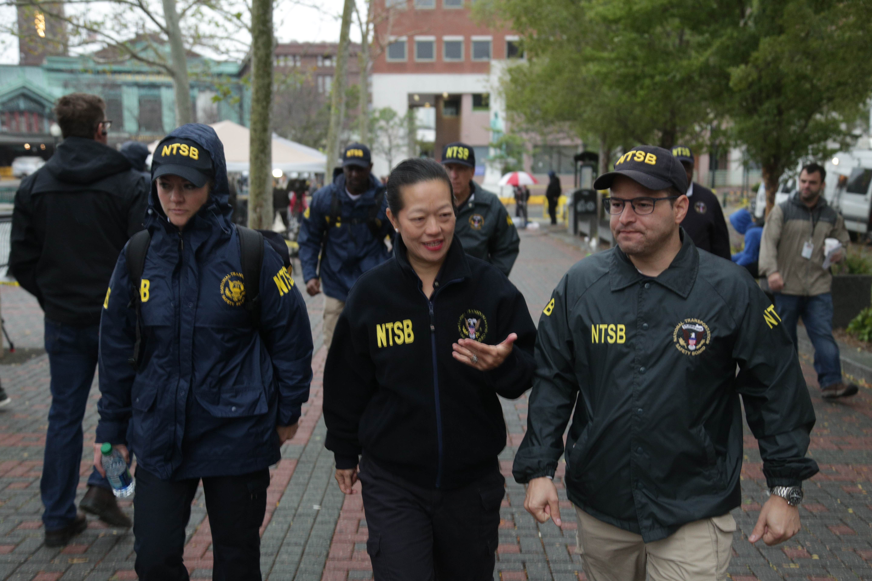 File:Bella Dinh-Zarr and NTSB investigators in Hoboken, September