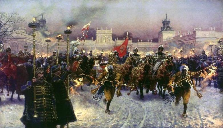 Peinture de Brandt illustrant le départ du Roi Jan III Sobieski et sa femme