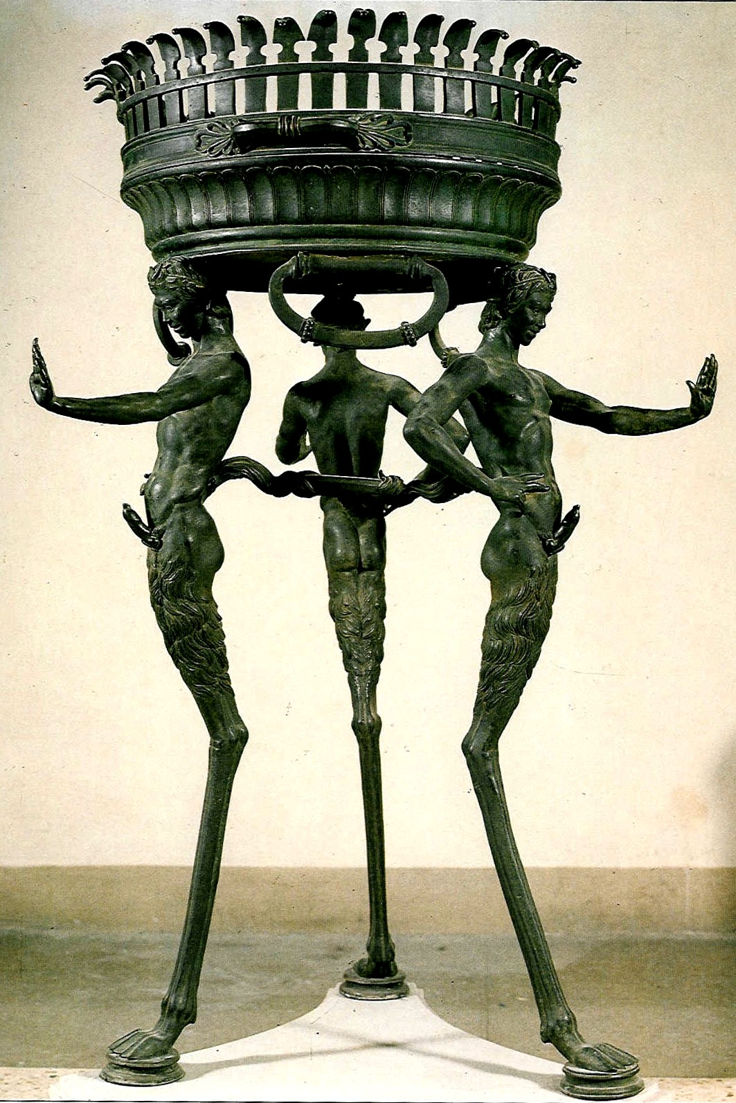 Metal Brazier With Satyrs, From Pompei