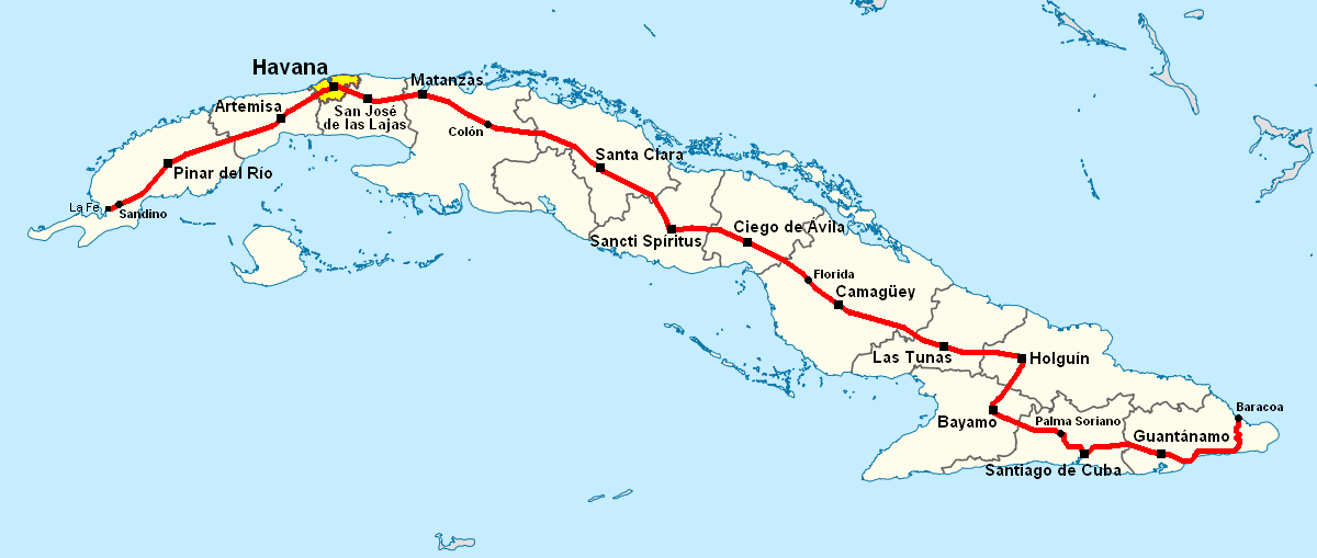 Map Of Florida And Cuba.File Carretera Central Map Cuba Png Wikimedia Commons