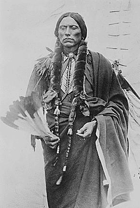 Quanah Parker, prominent chief of the Comanche Indians with a feather fan. Photo by James Mooney, 1892. Chief Quanah Parker of the Kwahadi Comanche2.jpg