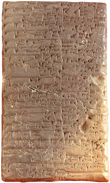 A rectangular clay table marked with cuneiform.