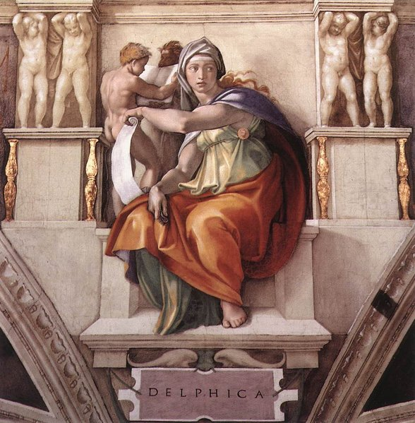 Pintura en la Capilla Sixtina de la Pitia Délfica, por Miguel Ángel.
