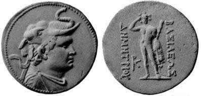 """moeda de prata que descreve o rei greco-bactriano Demétrio I (200-180 A.C.) usando uma cabeça de elefante, símbolo de sua conquista da Índia. Voltar: Héracles, segurando um leão de pele e um clube que repousar sobre o braço. Lê o texto: ΒΑΣΙΛΕΩΣ ΔΗΜΗΤΡΙΟΥ - BASILEŌS DĒMĒTRIOU """"of King Demetrius""""."""