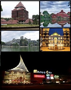(From top, left to right): University of Indonesia, Ukhuwah Islamiyah Mosque, Crystal of Knowledge, Dian Al-Mahri Mosque and Margo City