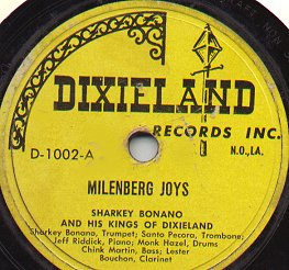 Dixieland Record by Sharkey Bonano