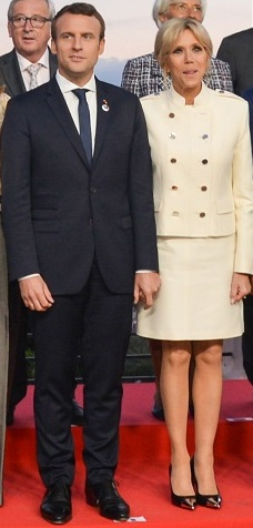 Emmanuel Macron and Brigitte Macron at G7 summit 2017