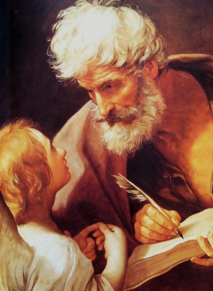Saint Matthew, depicted with an angel, is the patron saint of Salerno, Italy, bankers and tax collectors