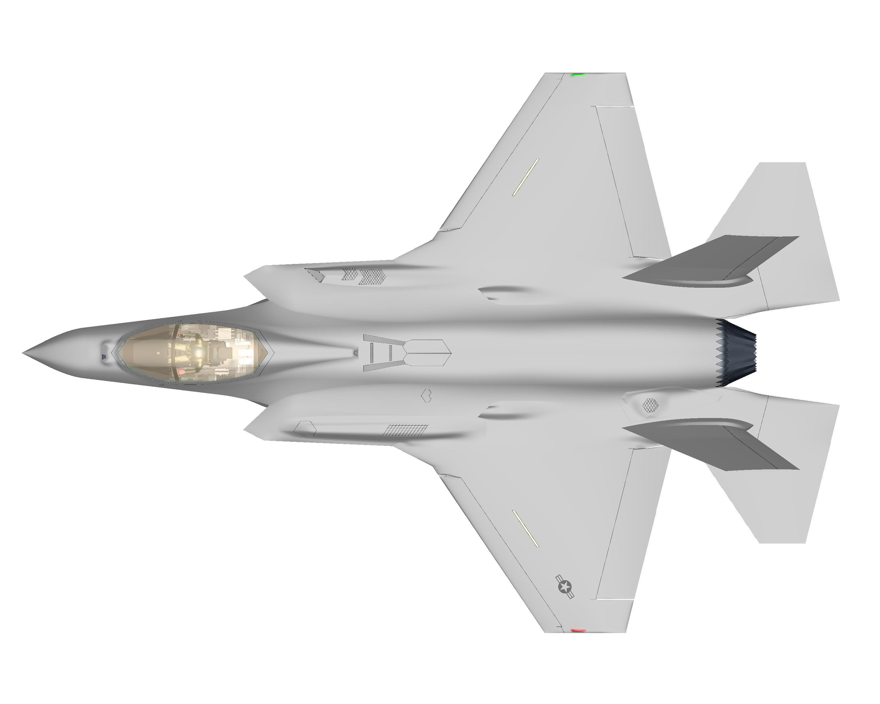computer and geometrical analysis of the f 35a lightning ii US Navy F-35 Lightning mons 1 19 f 35a_top jpg