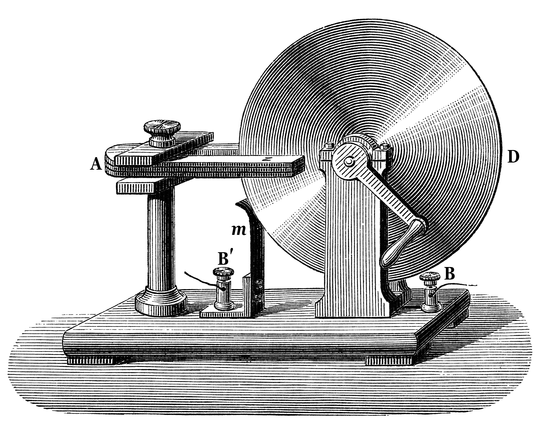 The first working electric generator designed by Michael Faraday.