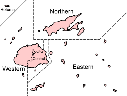 A map of Fiji's administrative divisions. Fiji divisions named.png