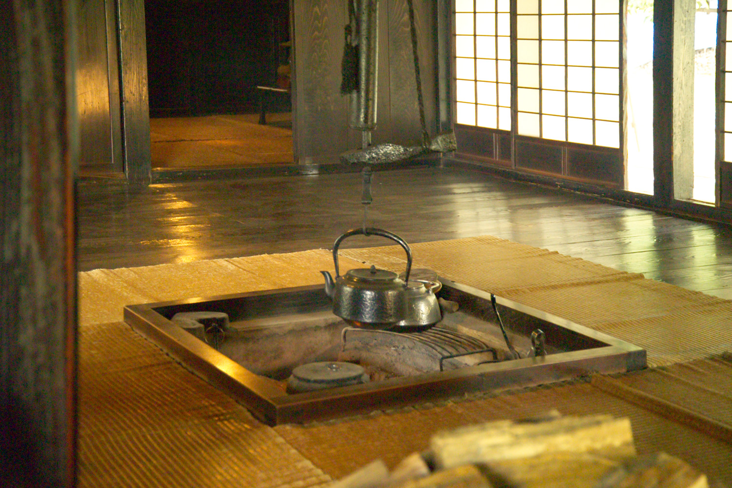 Hearth in a traditional Japanese house in Honsh.