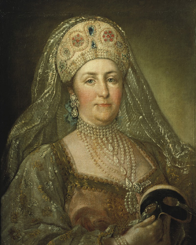 Portrait of Catherine II in Russian costume painted by an unknown artist.