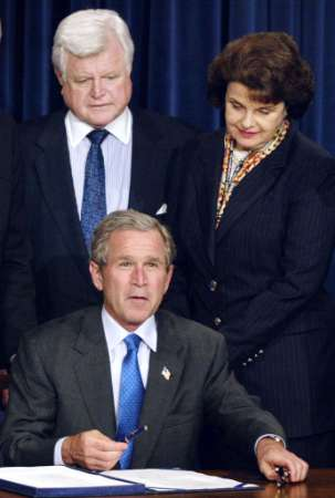 Kennedy Feinstein Bush signing.JPG