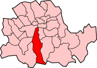 Metropolitan Borough of Lambeth shown within the County of London
