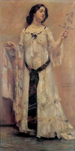 Charlotte Berend, portrait by Lovis Corinth: Portrait of Charlotte Berend in a White Dress, 1902, oil on canvas, Stadtmuseum, Berlin