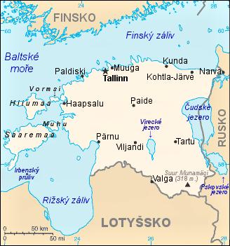 Mapa Estonska