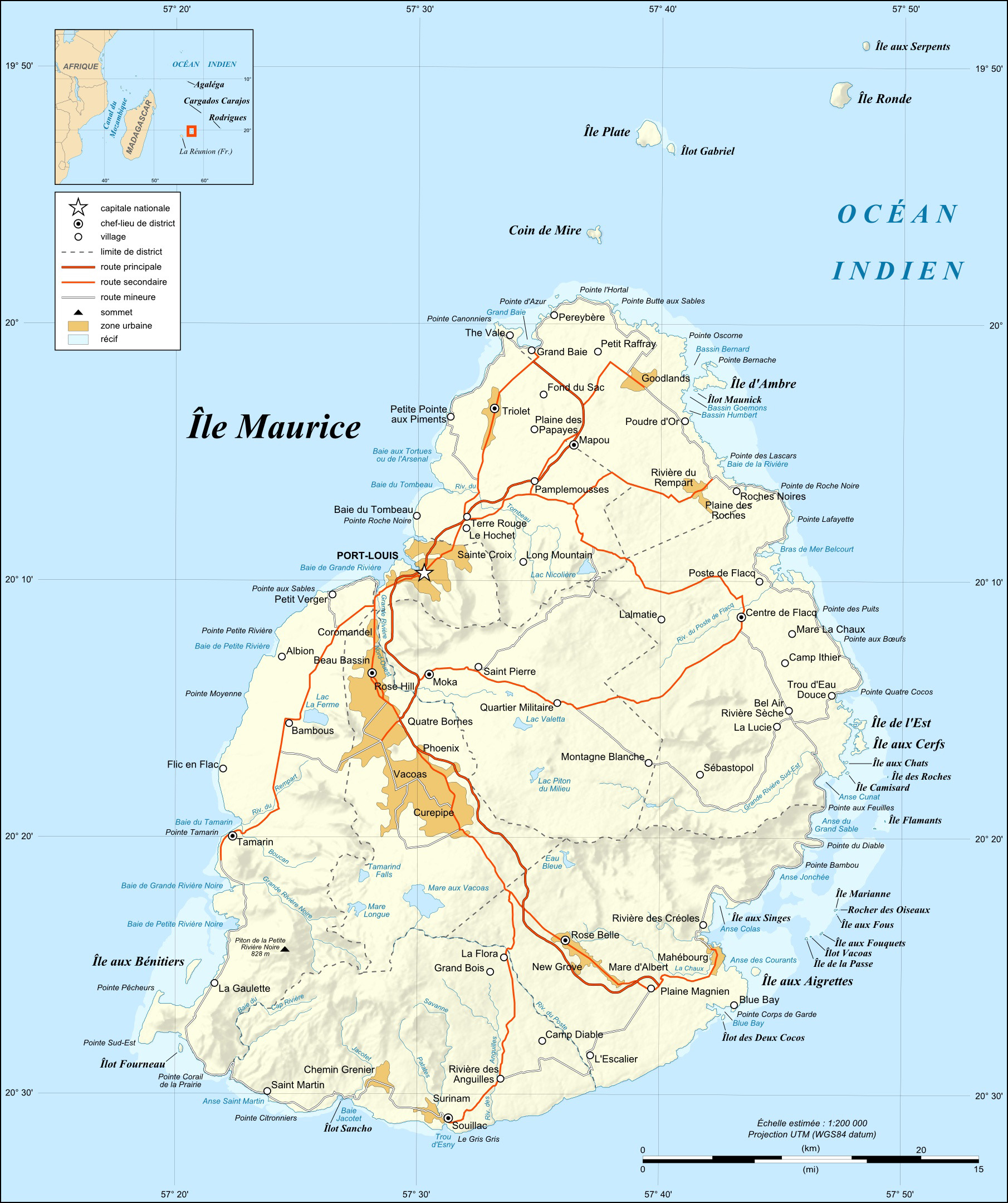 Earth Physical Map Description Mauritius ...