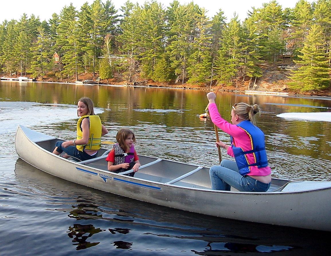 A family in a canoe