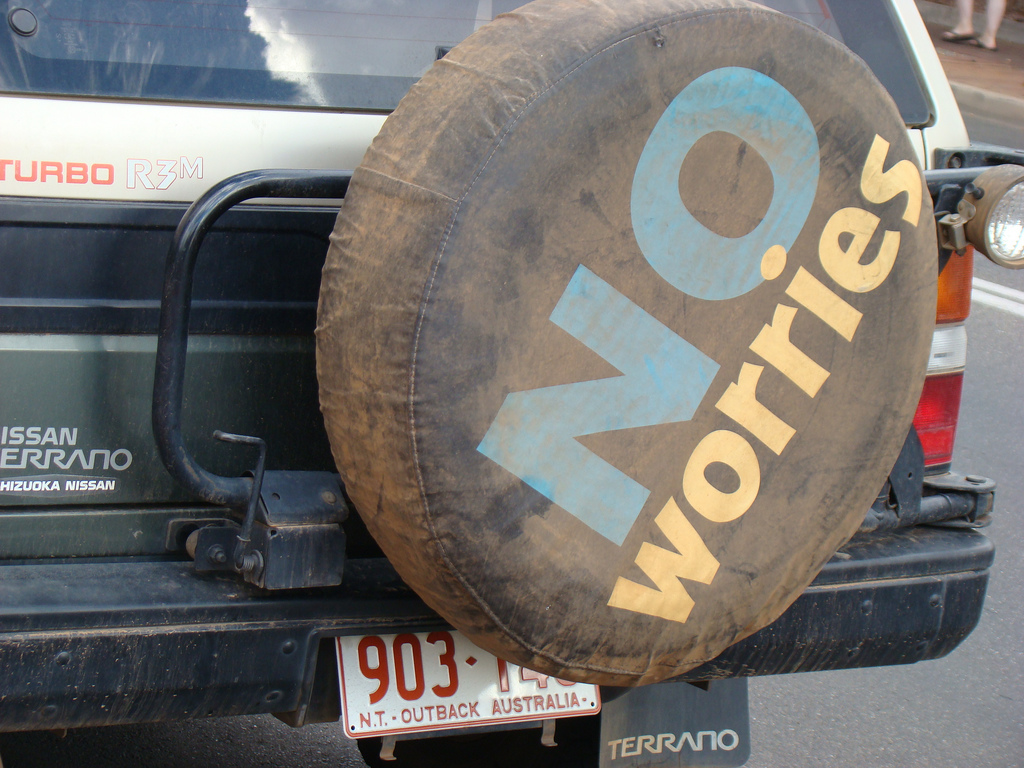 "Spare tire with ""no worries"" text"