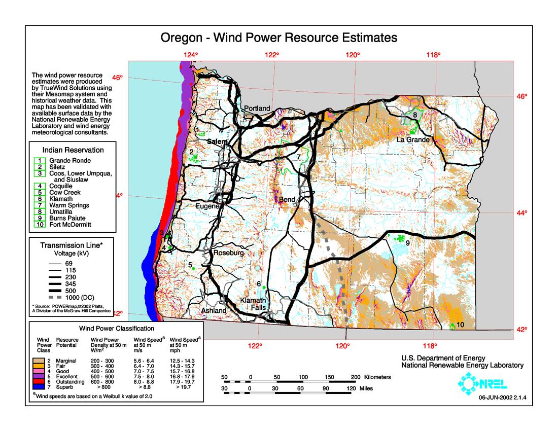 Wind Map Oregon File:Oregon wind resource map 50m 800.   Wikimedia Commons