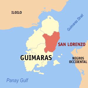 Map of Guimaras showing the location of San Lorenzo