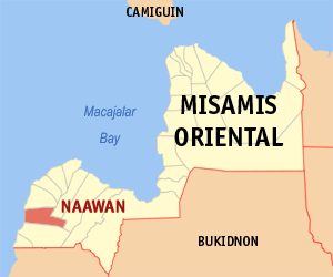 Map of Misamis Oriental showing the location of Naawan