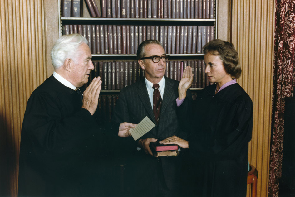 Photograph of Sandra Day O'Connor Being Sworn in a Supreme Court Justice by Chief Justice Warren Burger....jpg