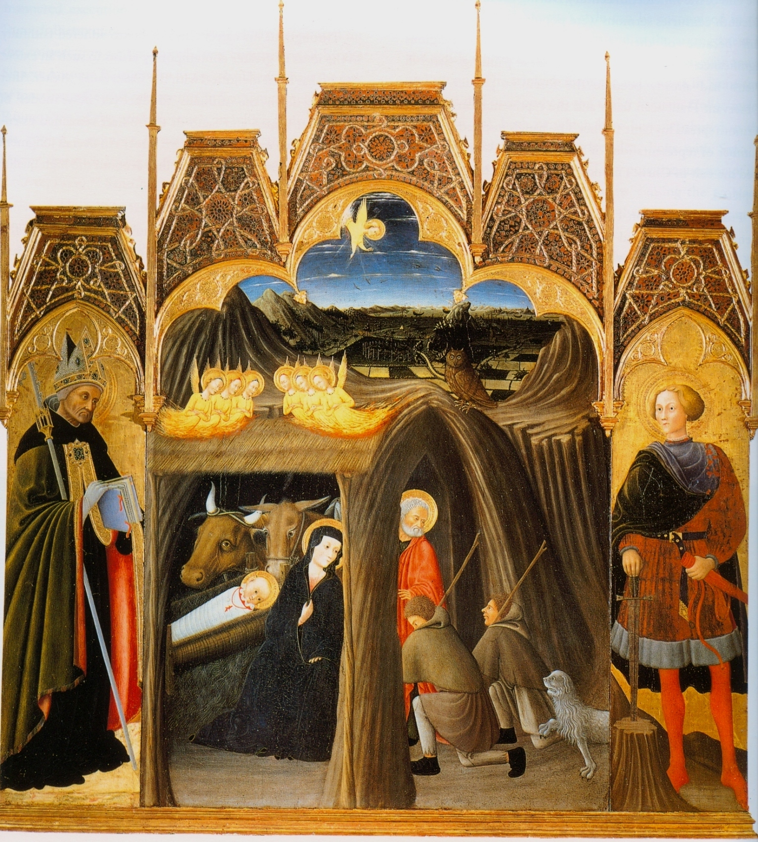 Pietro di Giovanni d'Ambrogio (1410–1449), Adoration of the Shepherds between Saints Augustin and Galgano, tempera on panel(1440 - 1449), 219 mm x 215,50 mm, sala Palazzo Corboli, Civic Archeological and Sacred Art Museum, Asciano
