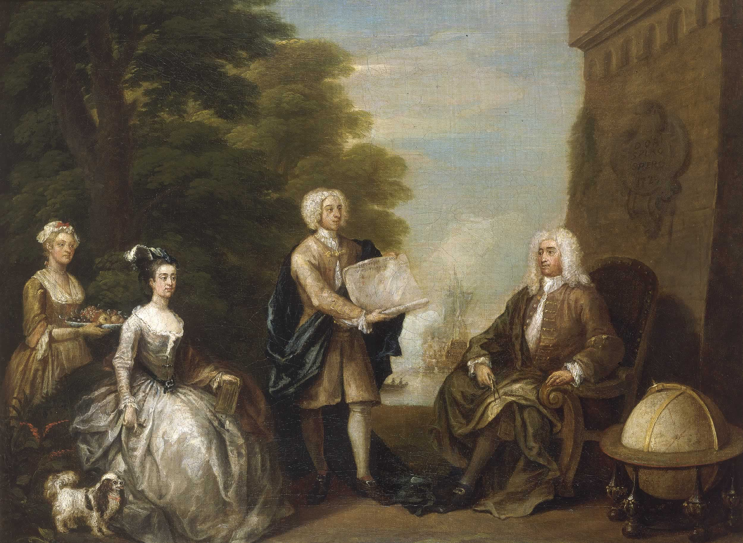 Rogers (right) receives a map of New Providence Island from his son, in a painting by [[William Hogarth]] (1729)