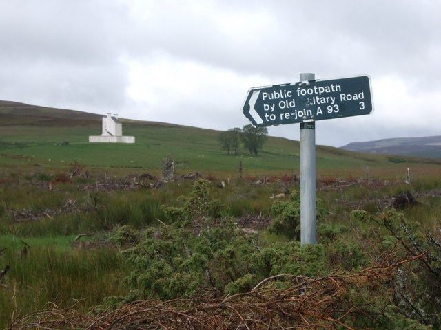 Signpost for Old Military Road, Corgarff Castle.