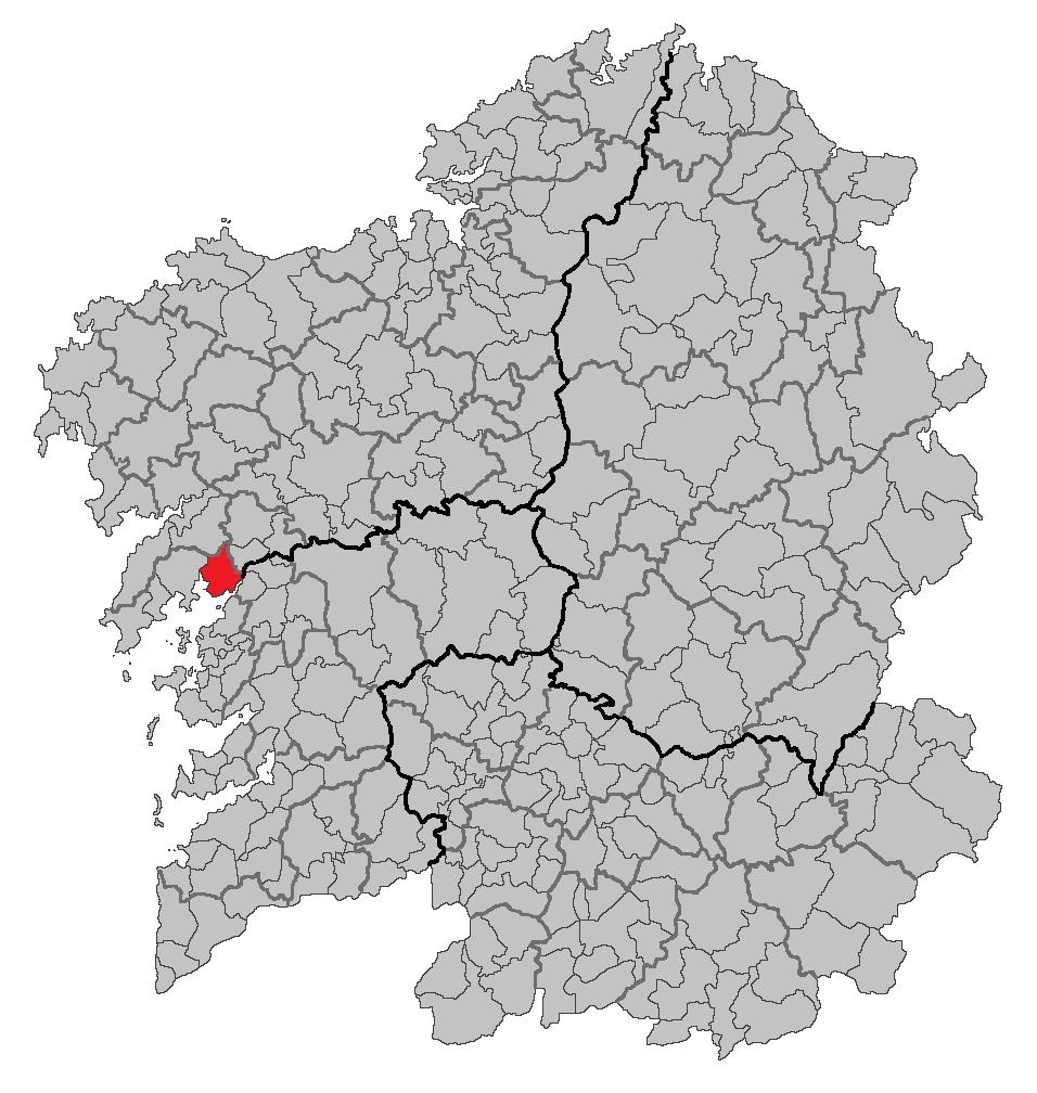 Mapa coa localización do concello de Rianxo.