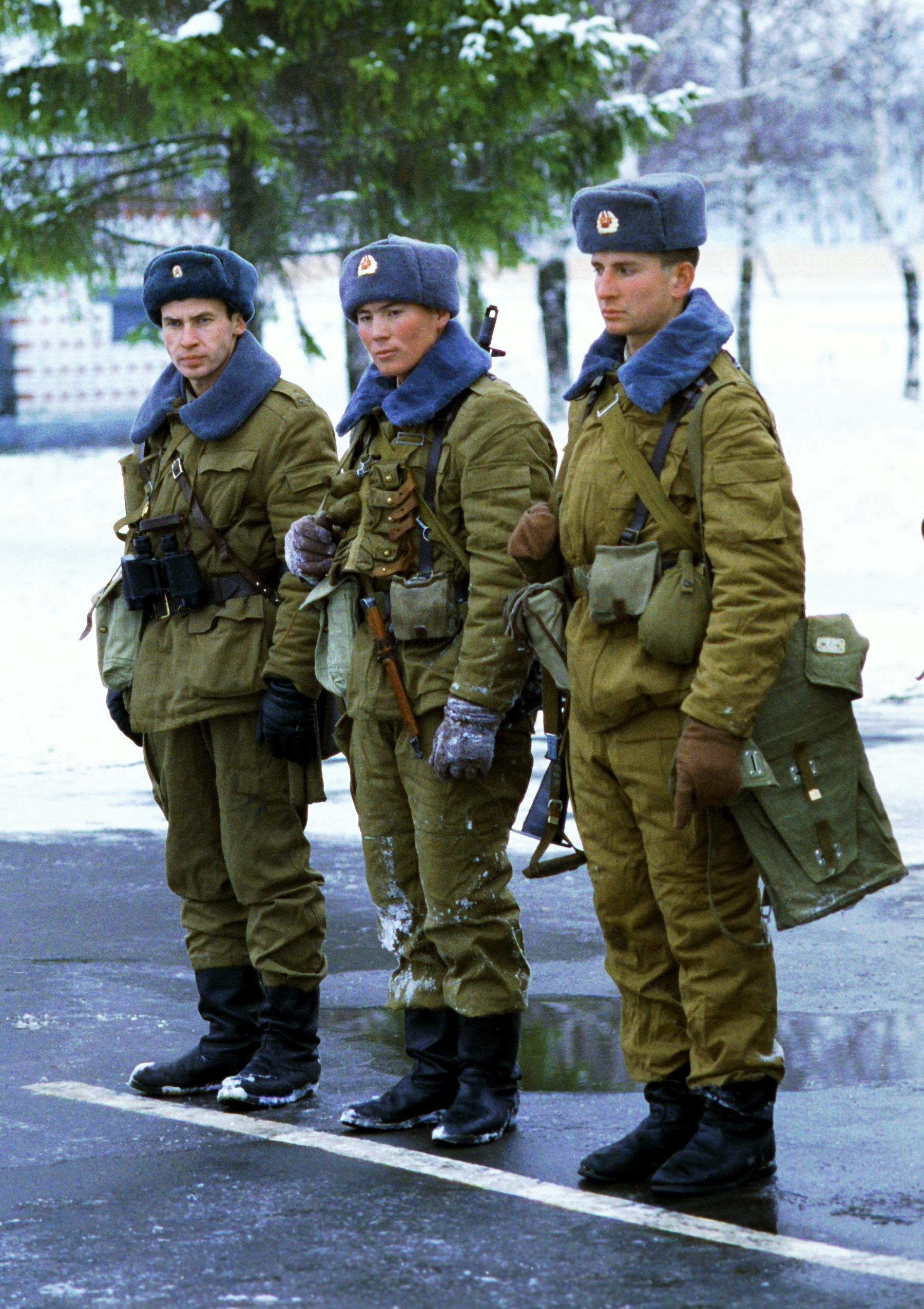 Soviet soldiers wearing the winter Afghanka uniform, both the Afghanka ... Ushanka Soldier
