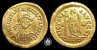 Immagine 1: Solido di Romolo Augusto, celebrante le vittorie militari degli augusti