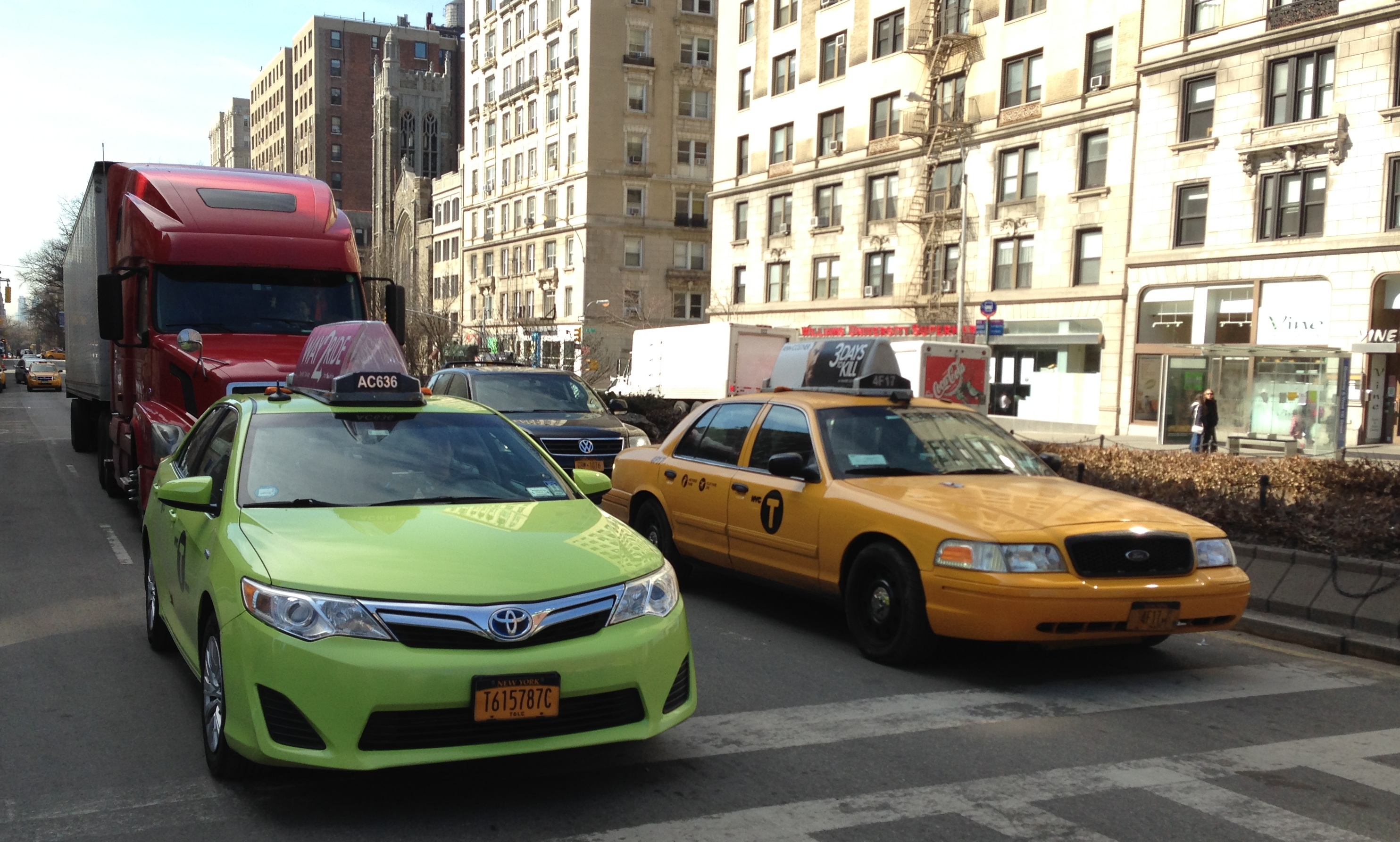 yellow cabs and green bro taxis JFK to New York City