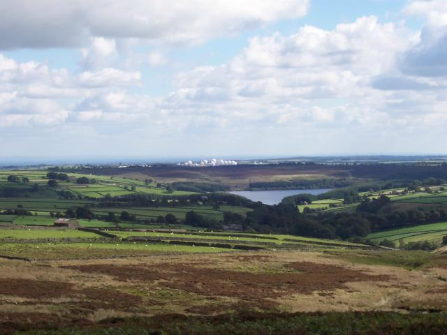 Thruscross Reservoir and Menwith Hill Radomes looking east from Rocking Hall - geograph.org.uk - 403850