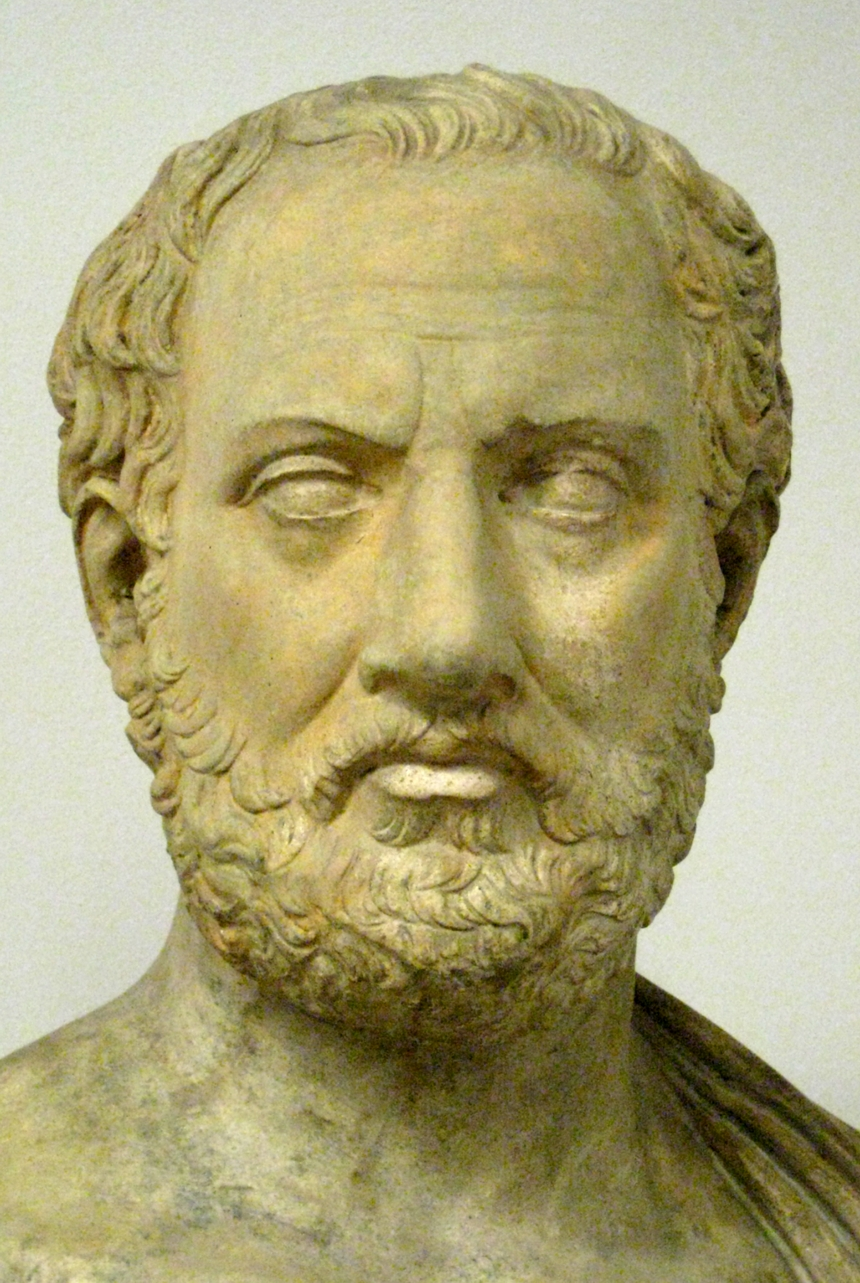 Plaster cast bust of Thucydides (in the [[Pushkin Museum]]) from a Roman copy (located at [[Holkham Hall]]) of an early fourth-century BC Greek original