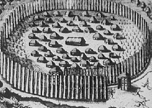 One of the sketches by Jacques le Moyne showing a Timucua village Timucua2.PNG