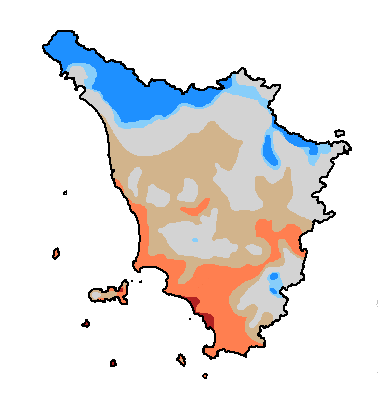 Thornthwaite climate classification of Tuscany
