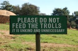 """Do not feed the Trolls"" sign. Photo..."