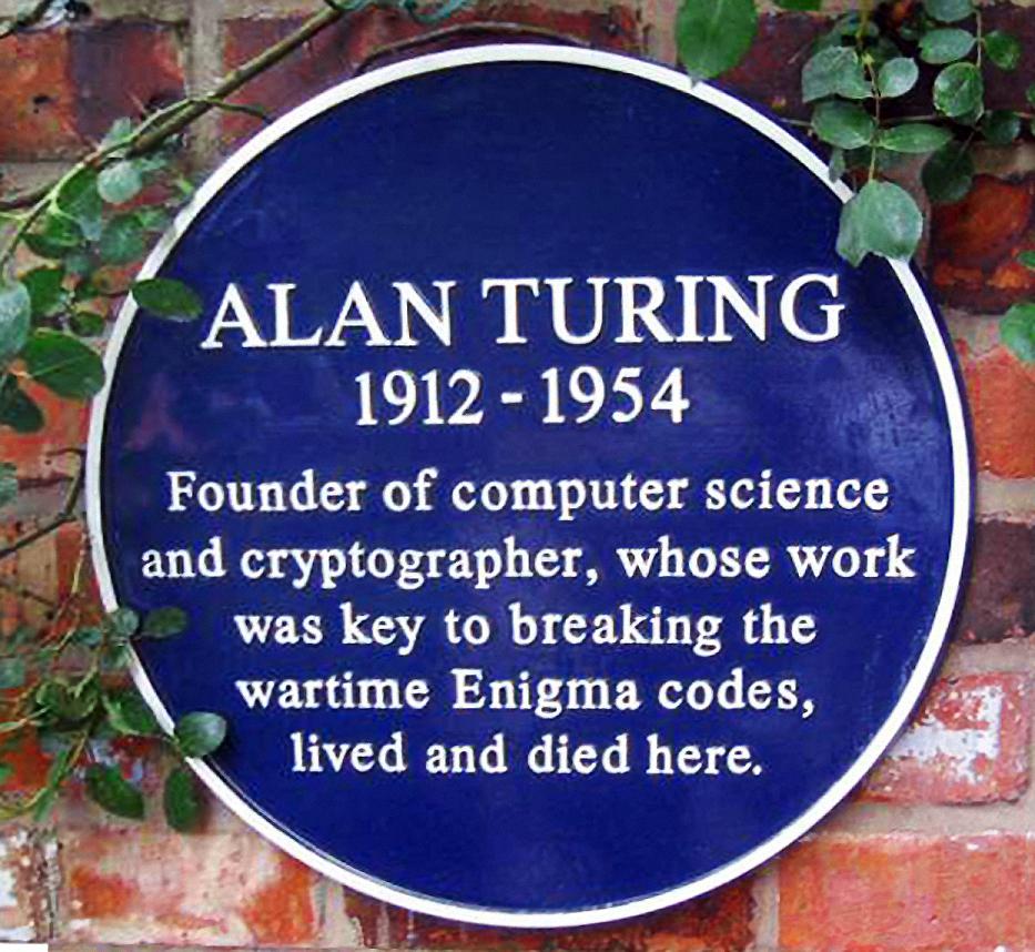 Placa conmemorativa en la antigua casa de Turing