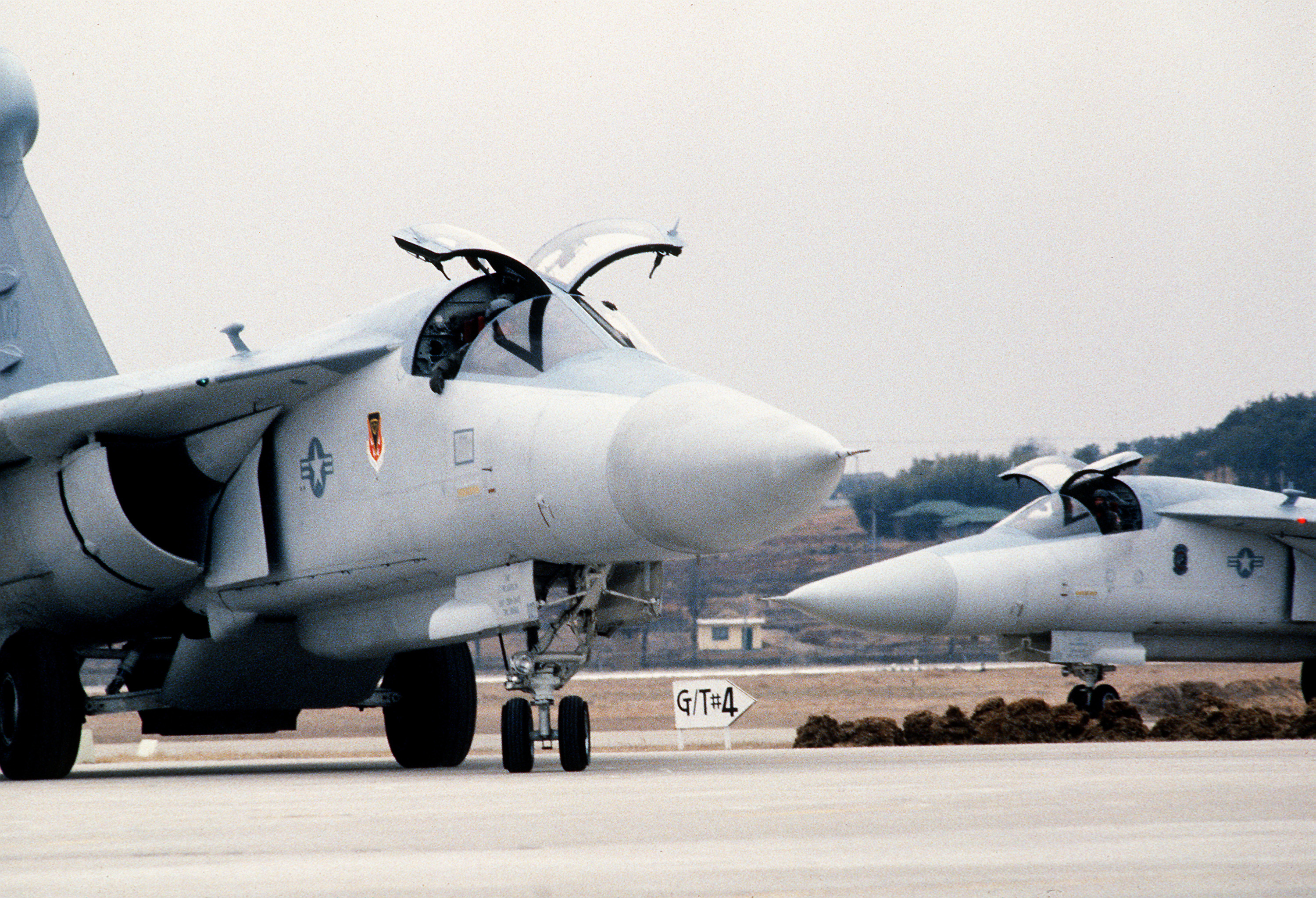 File:Two 366th Tactical Fighter Wing EF-111 Raven aircraft taxi on the flight line during ...