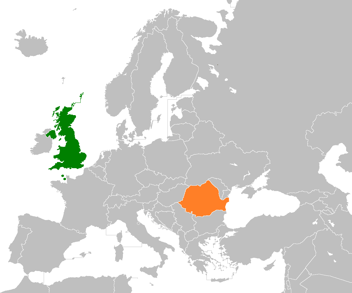 Map indicating locations of United Kingdom and Romania