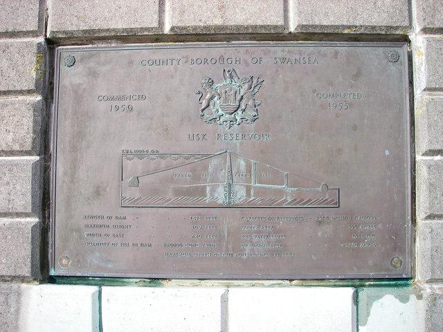 Usk reservoir plaque