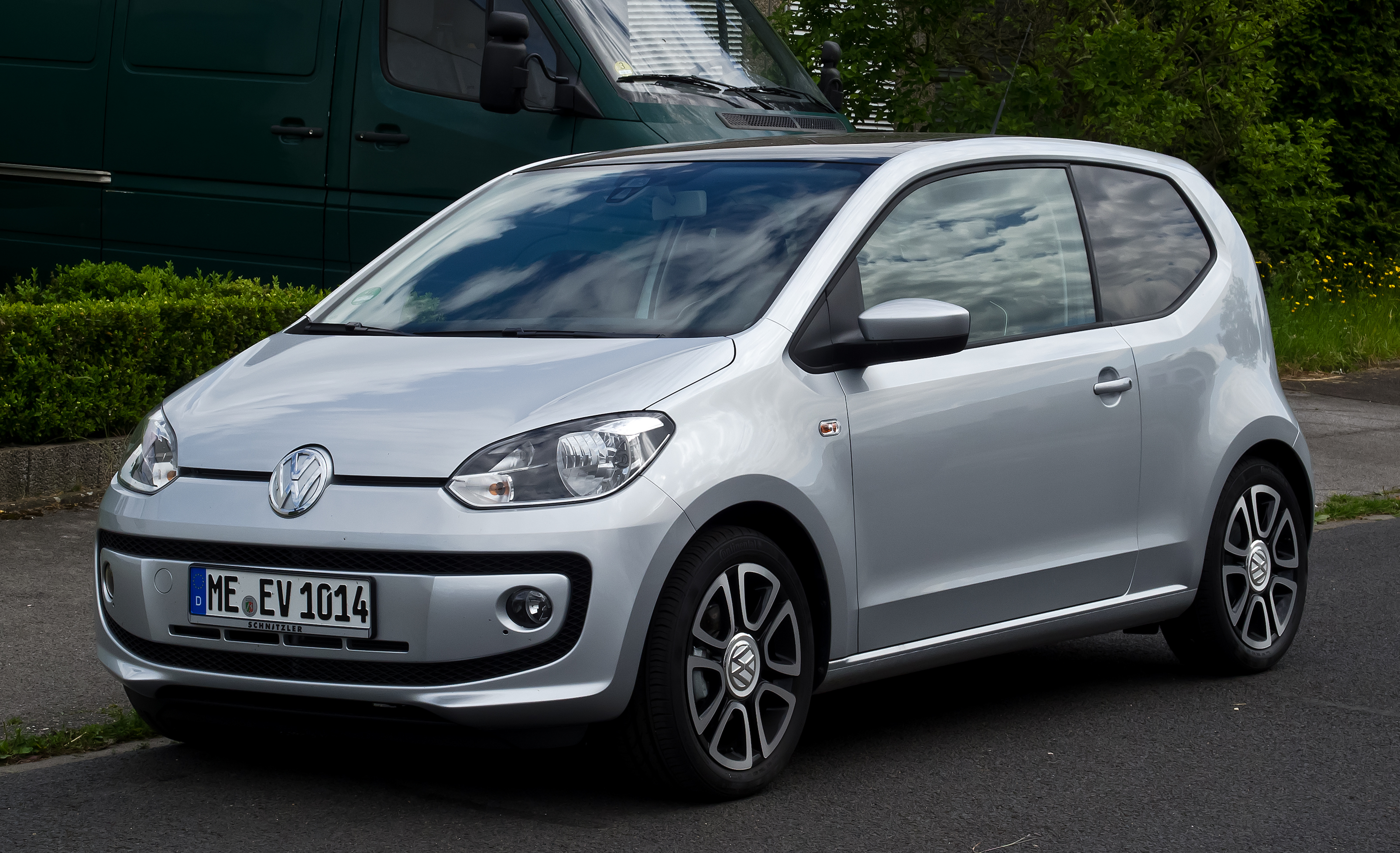 Silver front view Volkswagen Up