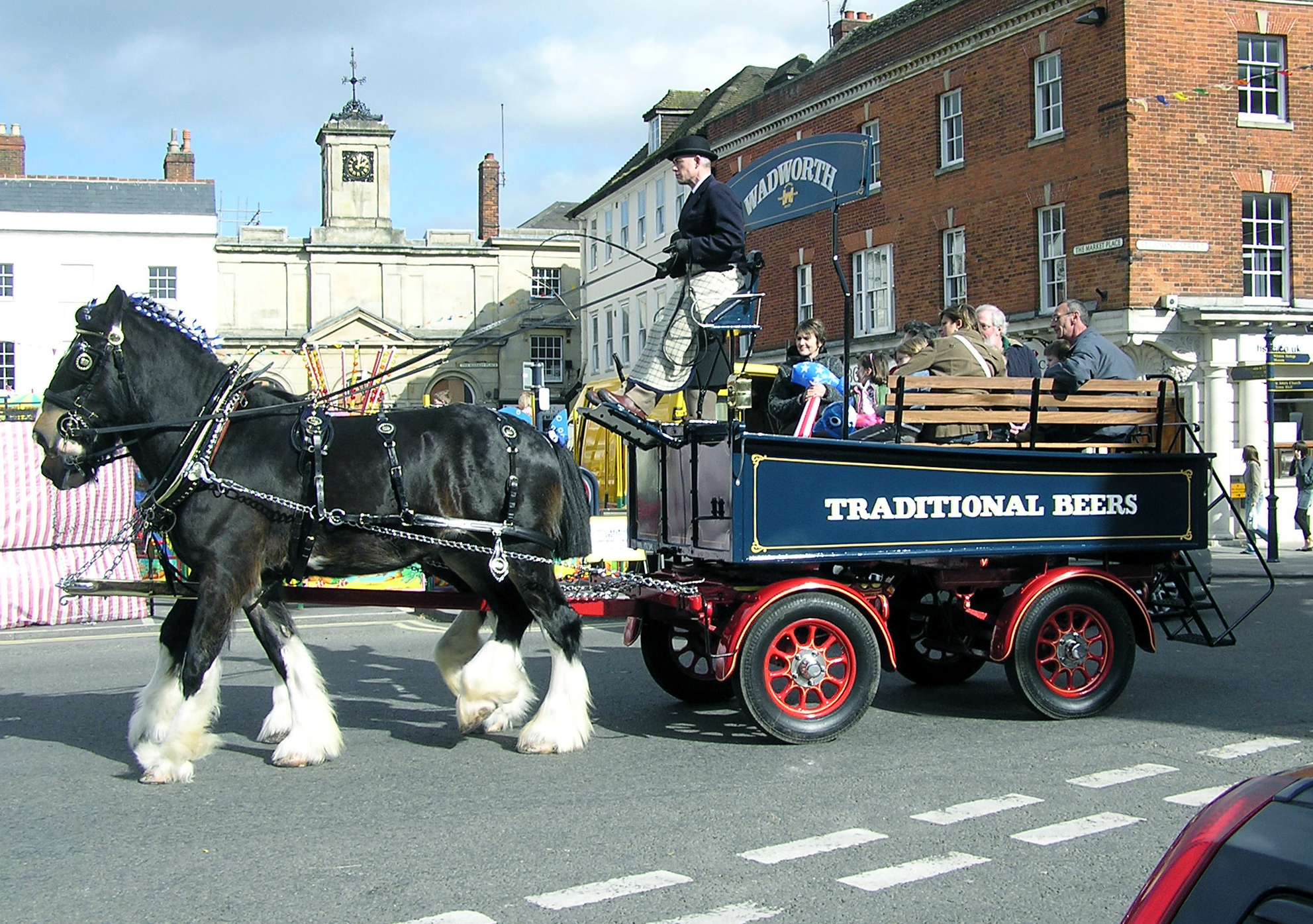 These Shire Horses Are Used To Pull A Brewery Dray Delivering Beer To Pubs  In England In This Picture, Members Of The Public Are Being Given A Ride